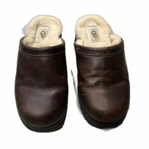 UGG Leather Mule Clogs Faux Fur Lining Brown 6